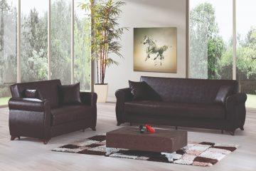 מערכות ישיבה דמוי עור לעיצוב מודרני של הסלון בבית